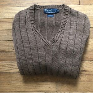 Polo by Ralph Lauren Brown V Neck Sweater M